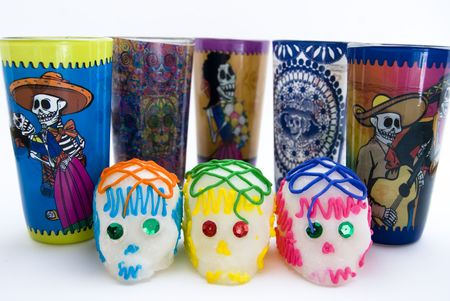 mexican folklore: Decorations for the offering to the dead Stock Photo