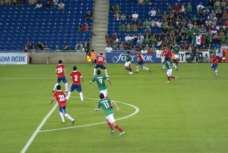 matches: Football match. Mexico-Chile. 04september2011. Cornella Stadium. Spain. Score: Mexico 1 - Chile 0.