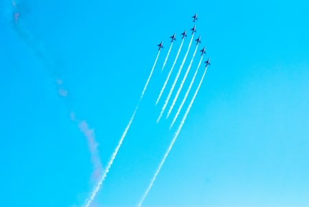 Airplanes show in Barcelona Spain. Flying exhibition. Stock Photo - 15745335
