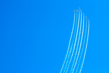 manoeuvre: Airplanes show in Barcelona Spain. Flying exhibition. Stock Photo