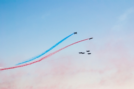Airplanes show in Barcelona Spain  Flying exhibition  Stock Photo - 15761644