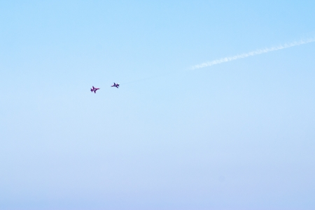 manoeuvre: Airplanes show in Barcelona Spain  Flying exhibition  Stock Photo