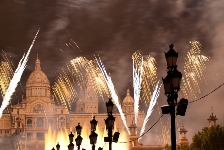 Fireworks in Barcelona Spain at the Magic Fountain in Montjuic photo