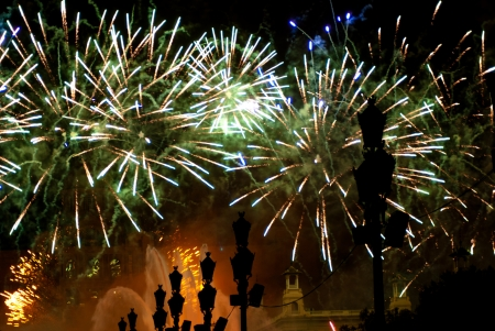 merce: Fireworks in Barcelona Spain at the Magic Fountain in Montjuic