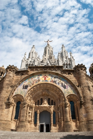 Tibidabo Church in Barcelona Spain. Tourist destination. photo