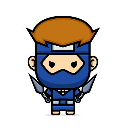 cartoon ninja holding kunai suitable for element design or background And Other Graphic Related Assets