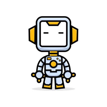 Cute characters friendly robot sleep 矢量图像