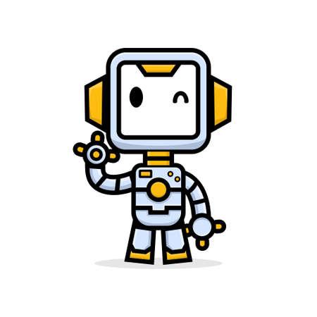 Cute characters friendly robot waving hand 矢量图像