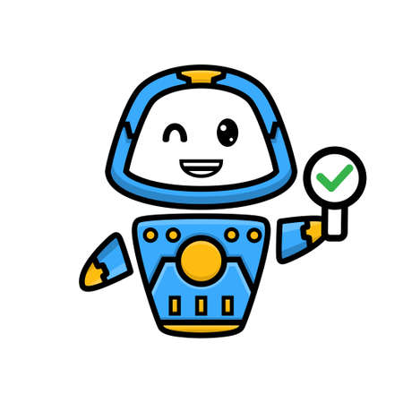 cartoon of cute robot holding sign