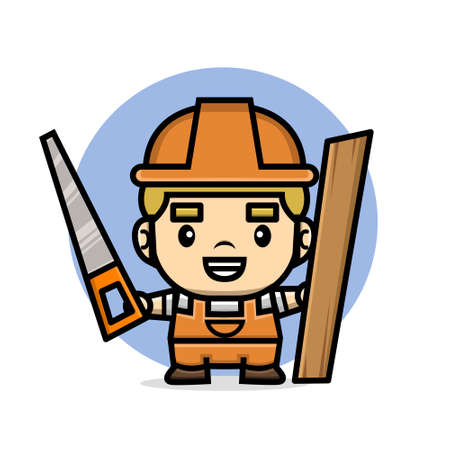 Cute characters builder man holding saw and wooden board