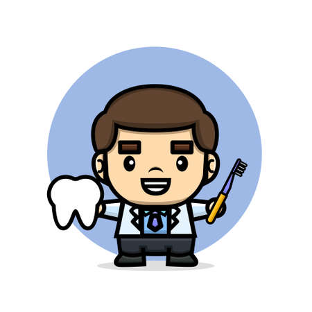 cute doctor holding tooth and toothbrush