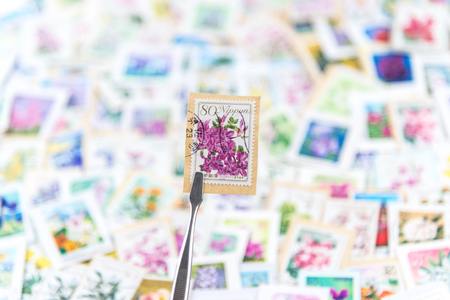 philately: A stamp printed in Japan shows various flowers collection.