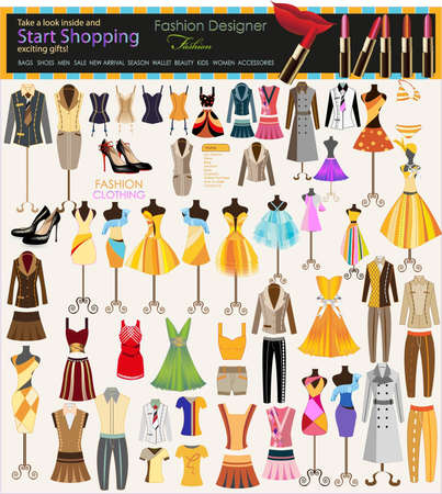 collection of beautiful fashion and clothing hanging on mannequin as display  Vector