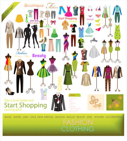 collection of designer fashion clothing hanging on mannequin as display Stock Vector - 15362201