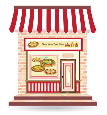 pizza restaurant with signs on door and in front Vector