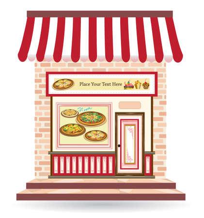 sweet shop: pizzer�a con letreros en la puerta y en frente