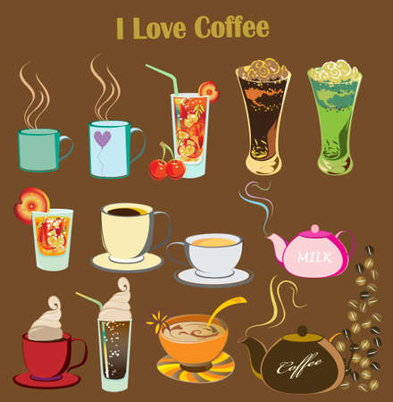 coffee: illustration of isolated set of drinks