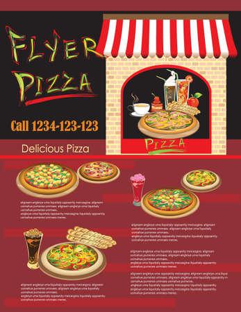 flyer pizza Template of Website  Restaurant menu Stock Vector - 15362208