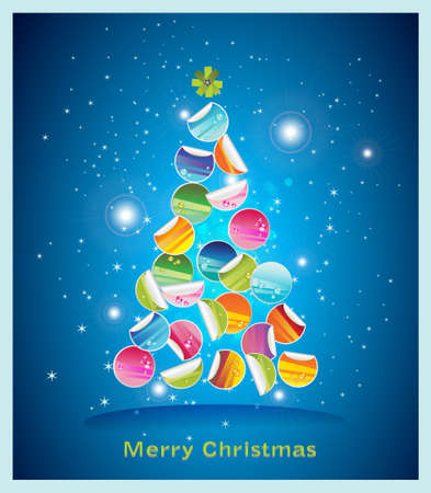 Colorful stickers decoractive Christmas Card