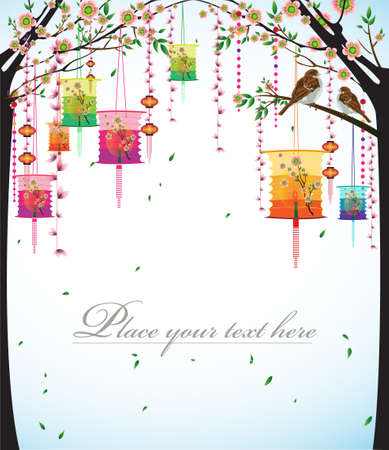 Flower Lanterns with the sky background illustration. Vector
