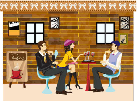 two people meeting: three friends have a good time in cafe