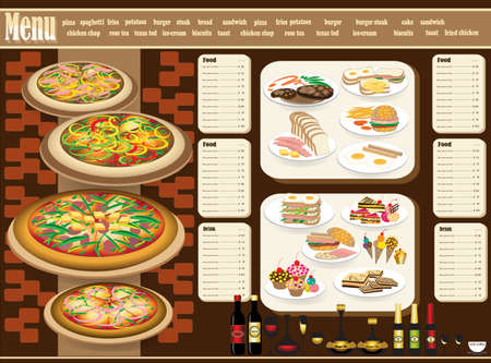 dessert buffet: Restaurant Menu. Full design concept  Illustration