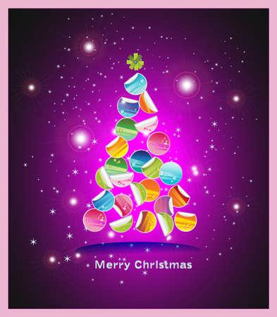 Christmas Card  Gift ribbon bow cut into many parts on shiny background