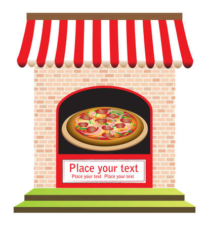 purchase order:  pizza restaurant with signs on door and in front, ready for your text