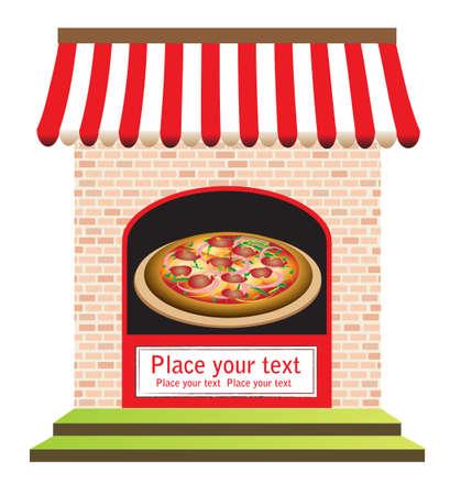 dinner date: ristorante pizzeria con segni sulla porta e di fronte, pronto per il vostro testo Vettoriali