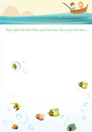 almanak: Animatie Schets met Sweet Dream - reizen met mooie glimlachen weinig koppel en onderzeese leven op een achtergrond van prachtige en kleurrijke golfpatronen