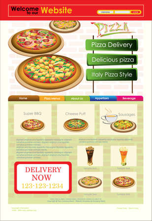 Template of Website or flyer. Restaurant menu. Vector