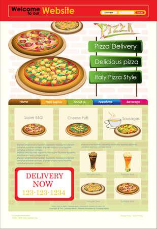 Template of Website or flyer. Restaurant menu.