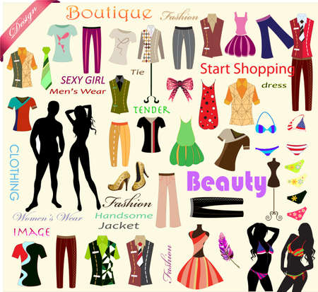 collection of designer fashion clothes Vector