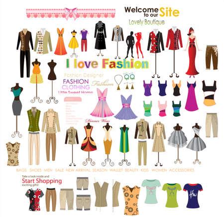 mannequins: Sammlung von Mode. Abbildung Illustration