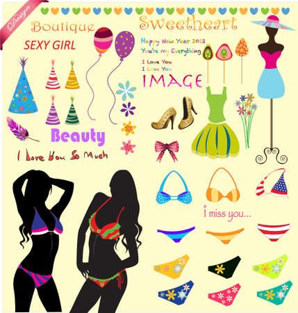 collection of bikini beach fashion clothing Vector