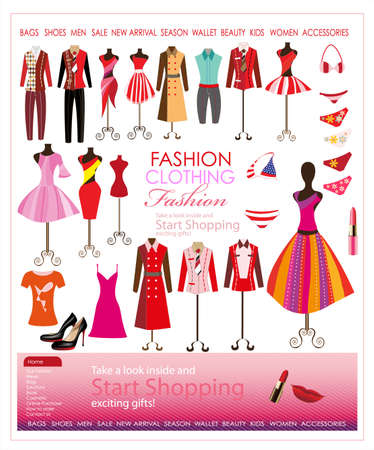 collection of designer fashion clothing hanging on mannequin Ilustração