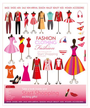 collection of designer fashion clothing hanging on mannequin Illustration