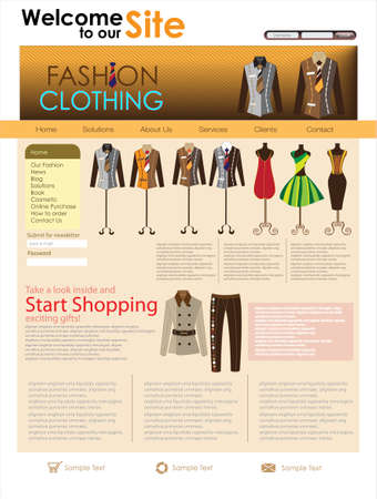 product design: Fashion design website template. illustration Illustration