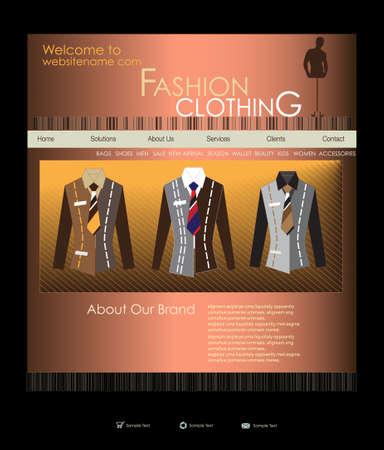Website design template for men s wear Illustration