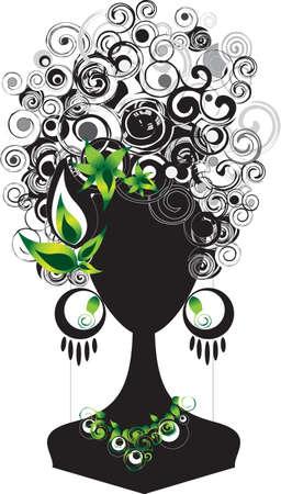 punk hair: silhouette de femme avec des cheveux punk et accessoires