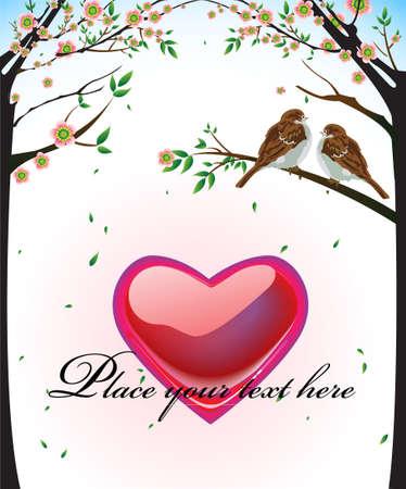 anniversario di matrimonio: Abstract vettore cuore e due uccelli si innamorano, amore San Valentino, sfondo di nozze Vettoriali