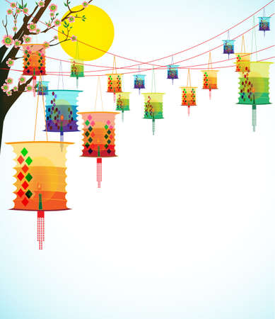 Fairy-lights  Big colorful lanterns will bring good luck and peace to prayer during Chinese New Year   Vector