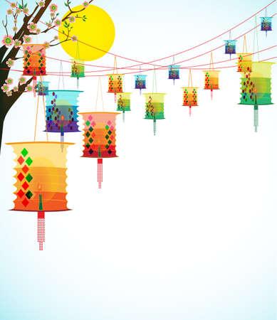 Fairy-verlichting Grote kleurrijke lantaarns brengt geluk en vrede te bidden tijdens het Chinese Nieuwjaar Stock Illustratie