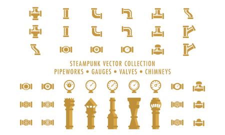 Steampunk Collection Isolated - Pipeworks, Gauges & Chimneys