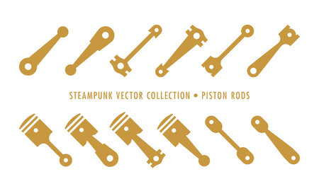 Steampunk Collection Isolated - Piston Rods Vectores