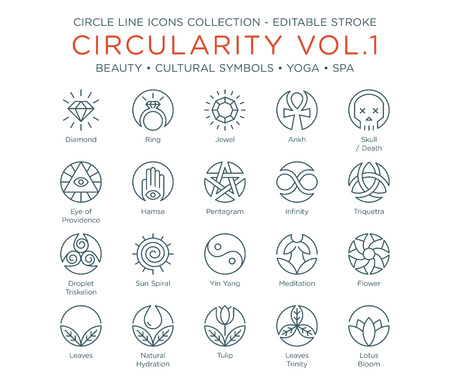 Circle Icons Collection - Beauty, Cultural Symbols, Yoga and Spa