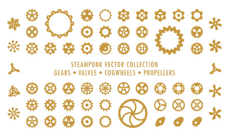 Steampunk Collection Isolated - Gears, Valves and Propellers