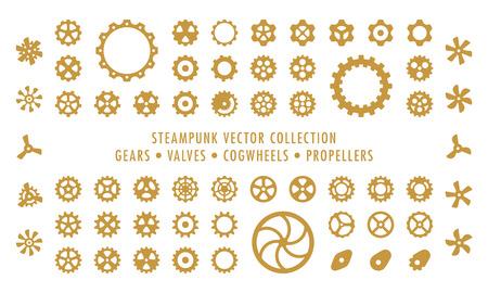 Steampunk-Sammlung isoliert - Zahnräder, Ventile und Propeller