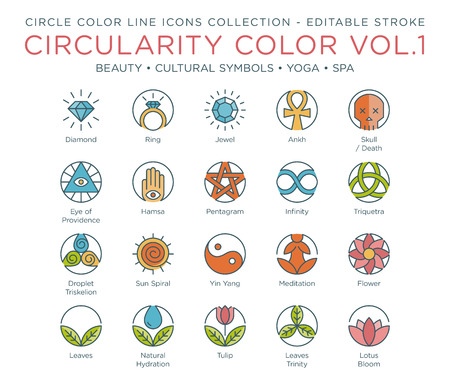 Circle Color Icons Collection - Beauty, Cultural Symbols, Yoga and Spa 向量圖像
