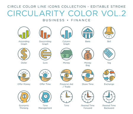 Circle Color Icons Collection - Business and Finance